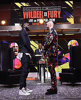 "LOS ANGELES - JANUARY 25: Curt Menefee introduces Deontay Wilder and Tyson Fury during a Los Angeles press conference on January 25, 2020 for the ""Wilder vs Fury II"" FOX SPORTS PPV & ESPN+ PPV which will take place on Feb. 22 from the MGM Grand Garden Arena in Las Vegas. (Photo by Frank Micelotta/Fox Sports/PictureGroup)"