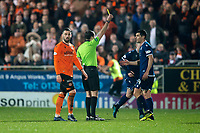 27th December 2019; Dens Park, Dundee, Scotland; Scottish Championship Football, Dundee Football Club versus Dundee United; Referee Alan Muir yellow cards Graham Dorrans of Dundee  - Editorial Use