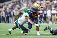 Annapolis, MD - October 26, 2019: Navy Midshipmen fullback Nelson Smith (43) runs the ball during the game between Tulane and Navy at  Navy-Marine Corps Memorial Stadium in Annapolis, MD.   (Photo by Elliott Brown/Media Images International)