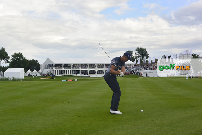 Henrik Stenson (SWE) takes his second shot on the 18th on the way to winning the 2016 BMW International Open at the Golf Club Gut Laerchenhof in Pulheim, Germany on Sunday 26/06/16.<br /> Picture: Thos Caffrey | Golffile