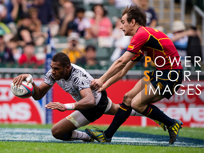 Fiji play Spain on Day 2 of the Cathay Pacific / HSBC Hong Kong Sevens 2013 on 23 March 2013 at Hong Kong Stadium, Hong Kong. Photo by Xaume Olleros / The Power of Sport Images