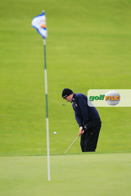 Ronan Mullarney (Galway) at the 18th green during the Connacht Semi-Final of the AIG Barton Shield at Galway Bay Golf Club, Galway, Co Galway. 11/08/2017<br /> Picture: Golffile | Thos Caffrey<br /> <br /> <br /> All photo usage must carry mandatory copyright credit     (&copy; Golffile | Thos Caffrey)
