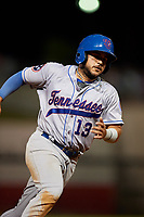 Tennessee Smokies third baseman Vimael Machin (13) runs the bases during a game against the Birmingham Barons on August 16, 2018 at Regions FIeld in Birmingham, Alabama.  Tennessee defeated Birmingham 11-1.  (Mike Janes/Four Seam Images)