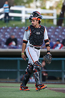 Aramis Garcia (14) of the San Jose Giants in the field during a game against the Inland Empire 66ers at San Manuel Stadium on April 8, 2017 in San Bernardino, California. (Larry Goren/Four Seam Images)