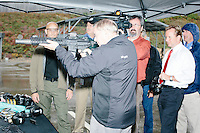 Republican presidential candidate and South Carolina senator Lindsey Graham fires a Sig Sauer MCX Special Forces rifle during a campaign stop at Sig Sauer Academy in Epping, New Hampshire. Sig Sauer manufactures the ammunition, gun, silencer, and optics, for the weapon, which is used by US and NATO Special Forces. Sig Sauer Academy is a training facility for domestic and international military and police forces.