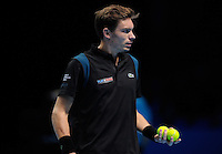 Nicolas Mahut (FRA) in action wear the 'Play 4 Paris' logo on his shirt during Day Two of the Barclays ATP World Tour Finals 2015 played at The O2, London on November 16th 2015
