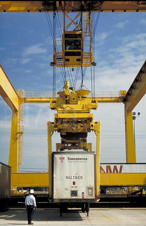 Loading trailers to train cars at Intermodel Transportation Tower. Huntsville Alabama, Huntsville Airport.