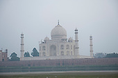 Agra, Uttar Pradesh, India. Taj Mahal from the river Yamuna.
