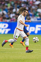 Mexico's defender Mario Osuna (17) during an international friendly at the Alamodome, Wednesday, April 15, 2015 in San Antonio, Tex. USA defeated Mexico 2-0. (Mo Khursheed/TFV Media via AP Images)
