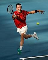 10th January 2020; Sydney Olympic Park Tennis Centre, Sydney, New South Wales, Australia; ATP Cup Australia, Sydney, Day 8; Belgium versus Spain; Kimmer Coppejans of Belgium versus Roberto Bautista Agut of Spain; Roberto Bautista Agut of Spain hits a forehand to Kimmer Coppejans of Belgium - Editorial Use
