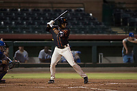 AZL Giants Black center fielder Randy Norris (1) at bat during an Arizona League game against the AZL Royals at Scottsdale Stadium on August 7, 2018 in Scottsdale, Arizona. The AZL Giants Black defeated the AZL Royals by a score of 2-1. (Zachary Lucy/Four Seam Images)
