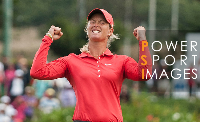TAOYUAN, TAIWAN - OCTOBER 28:  Suzann Pettersen of Norway celebrates after winning the Sunrise LPGA Taiwan Championship at the Sunrise Golf Course on October 28, 2012 in Taoyuan, Taiwan.  Photo by Victor Fraile / The Power of Sport Images