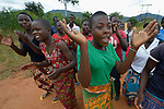Members of a youth sexual and reproductive health club educate their peers using song and dance in Kacheche, Malawi. With assistance from the AIDS program of the Livingstonia Synod of the Church of Central Africa Presbyterian, club members educate their peers about avoiding HIV transmission, resisting early marriages, and the prevention of school dropouts.