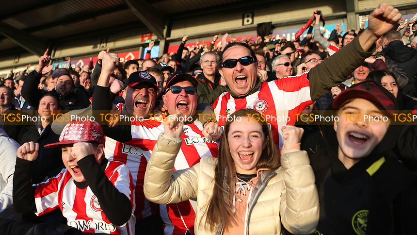 Brentford fans celebrate scoring their second goal during Brentford vs Middlesbrough, Sky Bet EFL Championship Football at Griffin Park on 8th February 2020