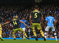 2nd November 2019; Etihad Stadium, Manchester, Lancashire, England; English Premier League Football, Manchester City versus Southampton; David Silva of Manchester City is unable to find a way past Oriol Romeu of Southampton - Strictly Editorial Use Only. No use with unauthorized audio, video, data, fixture lists, club/league logos or 'live' services. Online in-match use limited to 120 images, no video emulation. No use in betting, games or single club/league/player publications