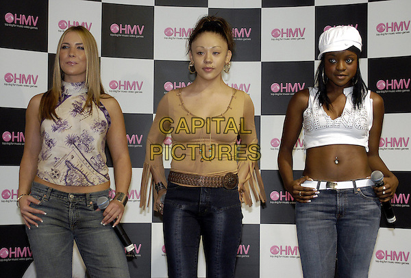 SUGABABES.sugarbabes, halterneck top, crop top, hat, midriff, belly button.Perform at HMV Music Store.Ref: HT.www.capitalpictures.com.sales@capitalpictures.com.© Capital Pictures