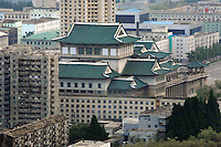 The Grand People's Study House, the National Library, is situated on Nam Hill, west of the Kim Il-sung Square in Pyongyang, North Korea. The ten-story building dates from 1982. The roofs are in traditional palace style and covered with blue-glazed tiles. In the hall there are several study-rooms and more than 30 million books are stored in the library. It can accommodate 10,000 persons a day.