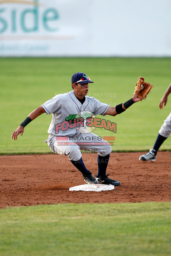 June 26, 2009:  Jose Torres of the Jamestown Jammers in the field during a game at Dwyer Stadium in Batavia, NY.  The Jammers are the NY-Penn League Short-Season Class-A affiliate of the Florida Marlins.  Photo by:  Mike Janes/Four Seam Images
