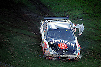 Nov. 1, 2009; Talladega, AL, USA; NASCAR Sprint Cup Series driver Robby Gordon after crashing during the Amp Energy 500 at the Talladega Superspeedway. Mandatory Credit: Mark J. Rebilas-