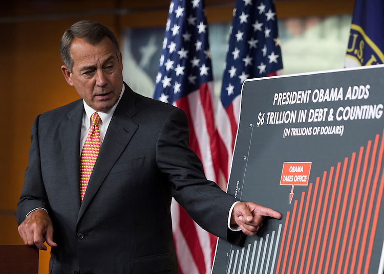 UNITED STATES - SEPTEMBER 19: Speaker of the House John Boehner, R-Ohio, holds his weekly news conference in the Capitol on Thursday, Sept. 19, 2013. (Photo By Bill Clark/CQ Roll Call)