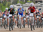 June 8, 2013: National champion and Olympic bronze medalist, Georgia Gould (2061), at the start of the women's pro mountain bike race during the GoPro Mountain Games, Vail, Colorado.  Adventure athletes from around the world converge on Vail, Colorado, June 6-9, for America's largest celebration of adventure sports, music and the mountain lifestyle.