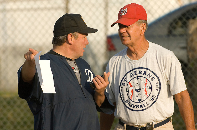 Coach Mike Doyle, D-PA., and Asst. Coach Kenny ??? during a practice for the democratic baseball team.