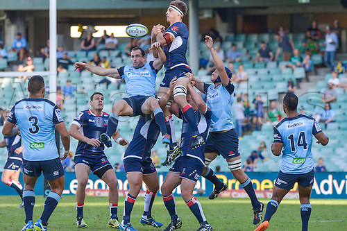03.04.2016.  Allianz Stadium, Sydney, Australia. Super Rugby. NSW Waratahs versus Melbourne Rebels. The Rebels win the lineout. The Rebels won 21-17.