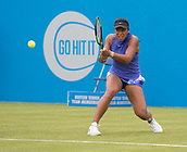 June 10th 2017,  Nottingham, England; WTA Aegon Nottingham Open Tennis Tournament day 1; A forceful backhand from Destanee Aiava of Australia