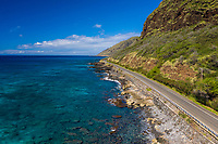 Aerial view of the scenic drive at Yokohama Bay, West O'ahu.