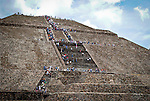 Mexico, Teotihuacan, September 15, 2011.People visit the town of Teotihuacan September 15, 2011. VIEWpress/ Miguel Angel Pantaleon. .Teotihuacan was one of the largest Mesoamerican cities of pre-Hispanic times, its name in Nahuatl means City of the Gods. It is an enormous archaeological site in the Basin of Mexico, just 30 miles northeast of Mexico City, containing some of the largest pyramidal structures built in the pre-Columbian Americas