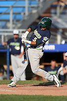 Vermont Lake Monsters third baseman Jose Brizuela (5) at bat during a game against the Jamestown Jammers on July 13, 2014 at Russell Diethrick Park in Jamestown, New York.  Jamestown defeated Vermont 6-2.  (Mike Janes/Four Seam Images)