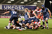 29th September 2017, AJ Bell Stadium, Salford, England; Aviva Premiership Rugby, Sale Sharks versus Gloucester; Sale Sharks' Faf de Klerk kicks the ball clear