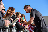 Lincoln City's Jason Shackell signs autographs as he arrives at the ground<br /> <br /> Photographer Chris Vaughan/CameraSport<br /> <br /> Emirates FA Cup First Round - Lincoln City v Northampton Town - Saturday 10th November 2018 - Sincil Bank - Lincoln<br />  <br /> World Copyright &copy; 2018 CameraSport. All rights reserved. 43 Linden Ave. Countesthorpe. Leicester. England. LE8 5PG - Tel: +44 (0) 116 277 4147 - admin@camerasport.com - www.camerasport.com