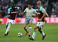 Pablo Zabaleta and Cheikhou Kouyate of West Ham United and Alexis Sanchez of Manchester United during West Ham United vs Manchester United, Premier League Football at The London Stadium on 10th May 2018