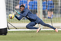 Sean Johnson of the United States makes the save