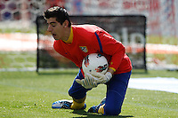 02.05.2012 SPAIN -  La Liga matchday 20th  match played between Atletico de Madrid vs Real Sociedadl (1-1) at Vicente Calderon stadium. The picture show Thibaut Courtois (Belgian goalkeeper of At. Madrid)