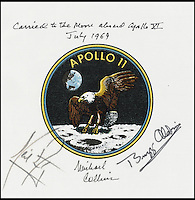 BNPS.co.uk (01202) 558833<br /> Picture: Bonhams/BNPS<br /> <br /> ****Please use full byline****<br /> <br /> Collins' flown crew - signed apollo 11 emblem.<br /> <br /> A 54-year-old spacesuit from the USA's famed mission to beat Cold War rivals the Soviet Union in the race to put the first man into space has emerged for sale.<br /> <br /> The silver suit was used during the early days of NASA's Project Mercury flight programme, the USA's bid for supremacy in spaceflight.<br /> <br /> It was manufactured using a special fabric made by by the Minnesota Mining and Manufacturing Company, now known as 3M.<br /> <br /> The outer part of the suit is made from green nylon coated with aluminium powder, giving it its iconic silver colouring.<br /> <br /> The spacesuit is tipped to fetch &pound;7,000 when it goes under the hammer at Bonhams on behalf of a private collector from Texas.