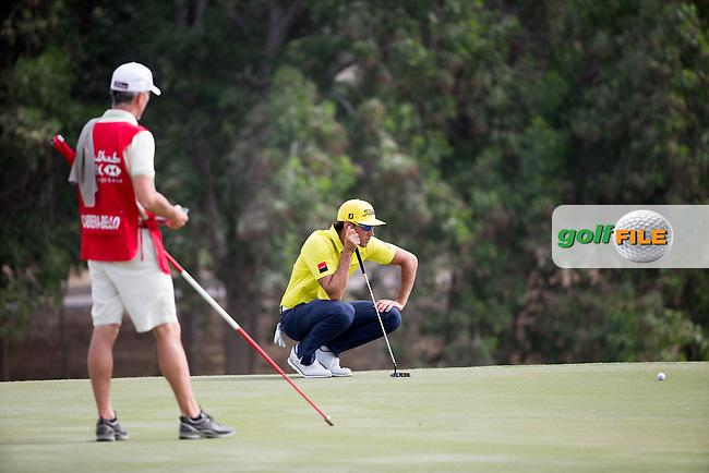 Rafa Cabrera Bello (ESP) on the 7th green during the final round of the Abu Dhabi HSBC Championship, Abu Dhabi Golf Club, Abu Dhabi,  United Arab Emirates. 22/01/2017<br /> Picture: Golffile | Fran Caffrey<br /> <br /> <br /> All photo usage must carry mandatory copyright credit (&copy; Golffile | Fran Caffrey)