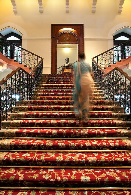 MUMBAI, INDIA - SEPTEMBER 27, 2010: The grand staircase at the Taj Mahal Palace and Tower Hotel in Mumbai. The Hotel has re-opened after the terror attacks of 2008 destroyed much of the heritage wing. The wing has been renovated and the hotel is once again the shining jewel of Mumbai. pic Graham Crouch