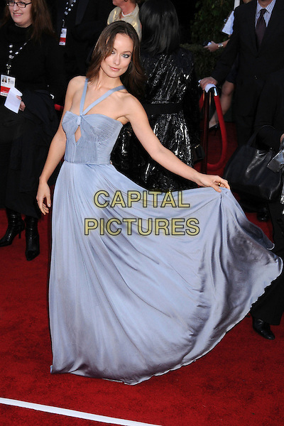OLIVIA WILDE.14th Annual Screen Actors Guild Awards held at the Shrine Auditorium, Los Angeles, California, USA, 27 January 2007..SAG full length blue grey dip dye dress halterneck.CAP/ADM/BP.©Byron Purvis/AdMedia/Capital Pictures.