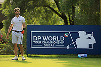 Thomas Detry (BEL) in action during previews ahead of the DP World Championship, Earth Course, Jumeirah Golf Estates, Dubai, UAE. 19/11/2019<br /> Picture: Golffile | Phil INGLIS<br /> <br /> <br /> All photo usage must carry mandatory copyright credit (© Golffile | Phil INGLIS)