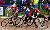 31 AUG 2015 - IPSWICH, GBR - Chris Timms (left) of Birmingham, Nicky Evans (centre) of Newport and Mark Boaler (right) of Horspath battle for position during a heat at the men's British Cycle Speedway Championships at Whitton Sports and Community Centre in Ipswich, Suffolk, Great Britain (PHOTO COPYRIGHT © 2015 NIGEL FARROW, ALL RIGHTS RESERVED)