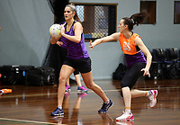 24.08.2017 Silver Ferns Te Paea Selby-Rickit in action during at the Silver Ferns training in Brisbane. Mandatory Photo Credit ©Michael Bradley.