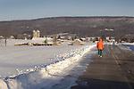 Middle Road walk in winter, bright orange jacket