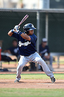 Milwaukee Brewers outfielder Brandon Diaz (11) during an Instructional League game against the Los Angeles Angels of Anaheim on October 9, 2014 at Tempe Diablo Stadium Complex in Tempe, Arizona.  (Mike Janes/Four Seam Images)