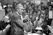 1982:  Tony Benn addresses a packed meeting in the 510 Centre, called to oppose the closure of St.Mary's Hospital, Harrow Road.