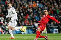 Benzema of Real Madrid during La Liga match between Real Madrid and Sevilla at Santiago Bernabeu Stadium in Madrid, Spain. February 04, 2015. (ALTERPHOTOS/Caro Marin) /NORTEphoto.com