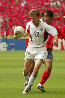 Brian McBride traps the ball. The USA tied South Korea, 1-1, during the FIFA World Cup 2002 in Daegu, Korea.
