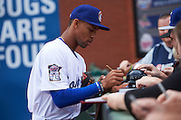Chattanooga Lookouts outfielder Byron Buxton (7) signs autographs before a game against the Jacksonville Suns on April 30, 2015 at AT&T Field in Chattanooga, Tennessee.  Jacksonville defeated Chattanooga 6-4.  (Mike Janes/Four Seam Images)