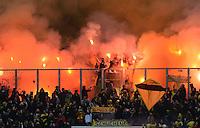 FUSSBALL   1. BUNDESLIGA   SAISON 2012/2013    25. SPIELTAG FC Schalke 04 - Borussia Dortmund                         09.03.2013 Fans von Borussia Dortmund brennen in ihrem Fanblock Pyrotechnik ab